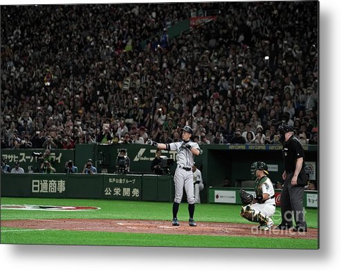 People Metal Print featuring the photograph Seattle Mariners V Oakland Athletics 22 by Masterpress
