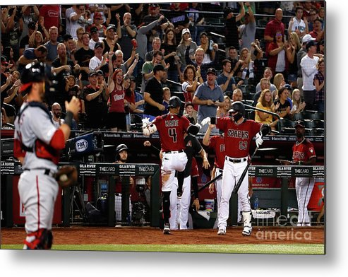 People Metal Print featuring the photograph Washington Nationals V Arizona by Christian Petersen
