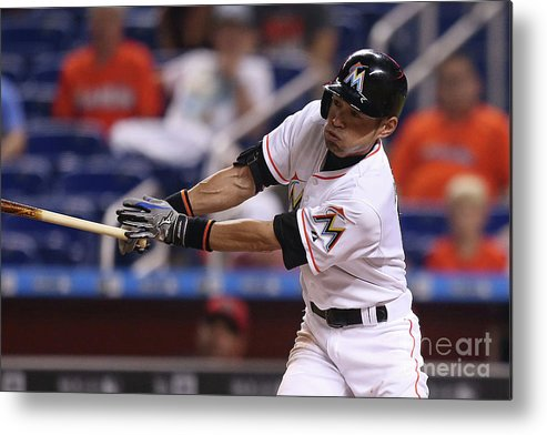 Three Quarter Length Metal Print featuring the photograph Arizona Diamondbacks V Miami Marlins 3 by Rob Foldy