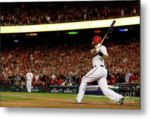 Playoffs Metal Print featuring the photograph St. Louis Cardinals V Washington 3 by Rob Carr