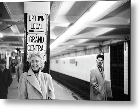 1950-1959 Metal Print featuring the photograph Marilyn In Grand Central Station by Michael Ochs Archives