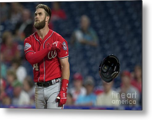 Game Two Metal Print featuring the photograph Washington Nationals V Philadelphia 4 by Mitchell Leff