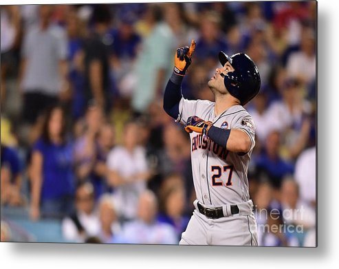 Game Two Metal Print featuring the photograph World Series - Houston Astros V Los by Harry How