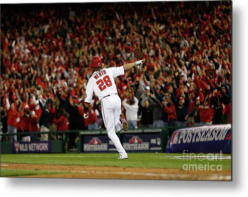 Playoffs Metal Print featuring the photograph St. Louis Cardinals V Washington 5 by Rob Carr