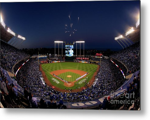 Firework Display Metal Print featuring the photograph Alcs - Baltimore Orioles V Kansas City by Jamie Squire