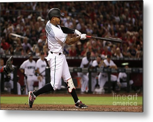 People Metal Print featuring the photograph Boston Red Sox V Arizona Diamondbacks by Christian Petersen