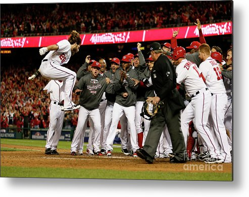 Playoffs Metal Print featuring the photograph St. Louis Cardinals V Washington 6 by Rob Carr