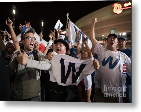 Celebration Metal Print featuring the photograph Cleveland Indians Fans Gather To The by Justin Merriman