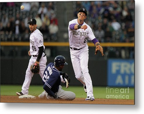 Double Play Metal Print featuring the photograph San Diego Padres V Colorado Rockies by Doug Pensinger