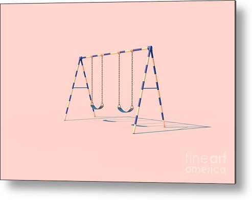 Play Metal Print featuring the digital art A Swingset In Sunlight On A Pink by Fenderosa