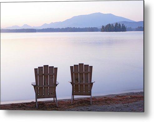 Adirondack Chairs On Millinocket Lake Metal Print