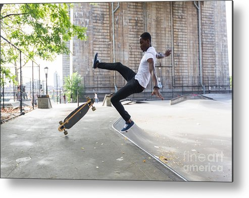 Usa Metal Print featuring the photograph African American Boy Skating At Park by William Perugini