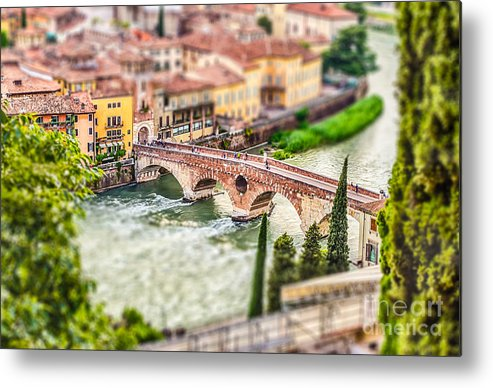 Adige Metal Print featuring the photograph Ancient Roman Bridge Called Ponte Di by Marco Rubino