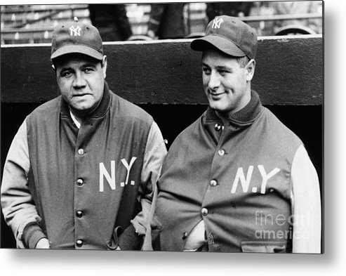 American League Baseball Metal Print featuring the photograph Babe Ruth Lou Gehrig 1929 by Transcendental Graphics