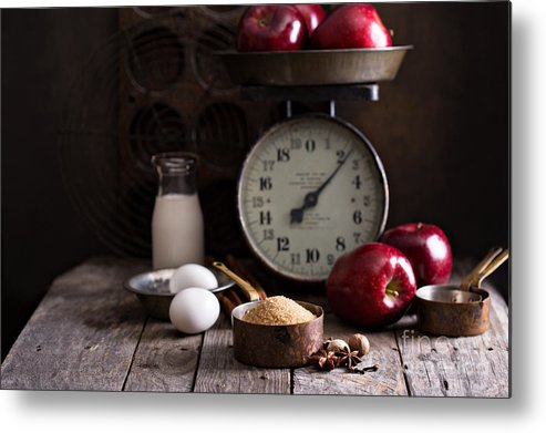 Nut Metal Print featuring the photograph Baking Ingredients On Rustic Table by Elena Veselova