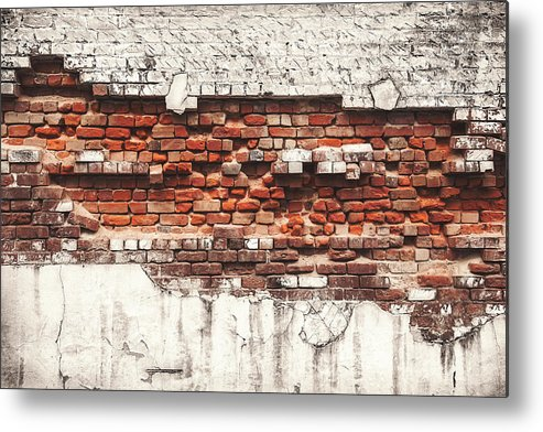 Tranquility Metal Print featuring the photograph Brick Wall Falling Apart by Ty Alexander Photography
