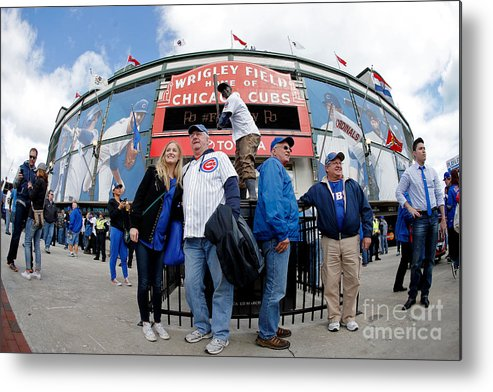 American League Baseball Metal Print featuring the photograph Chicago Cubs Fans Watch Game Four In by Jon Durr
