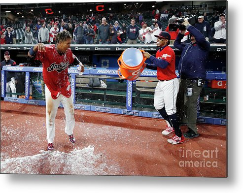 American League Baseball Metal Print featuring the photograph Chicago White Sox V Cleveland Indians by Joe Robbins