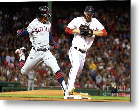 People Metal Print featuring the photograph Cleveland Indians V Boston Red Sox by Adam Glanzman