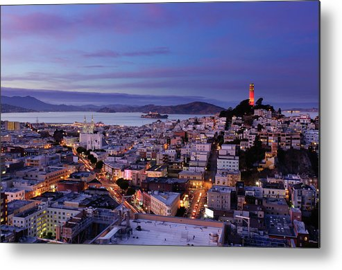 California Metal Print featuring the photograph Coit Tower And North Beach At Dusk by Photo By Brandon Doran