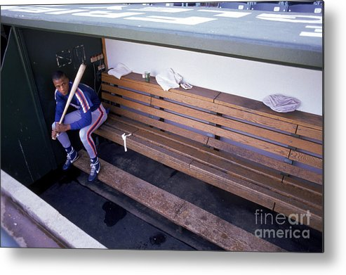 People Metal Print featuring the photograph Darryl Strawberry Sits In The Dugout by Jonathan Daniel