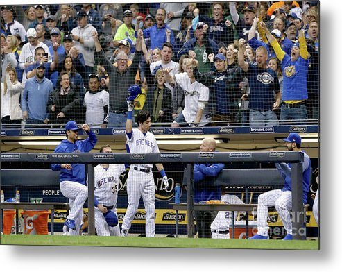 People Metal Print featuring the photograph Detroit Tigers V Milwaukee Brewers by Dylan Buell