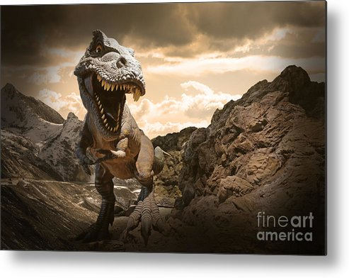 Big Metal Print featuring the photograph Dinosaurs Model On Rock Mountain by Sahachatz