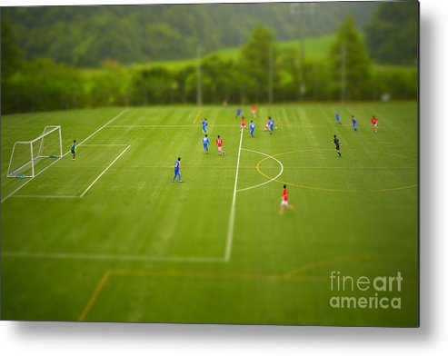Play Metal Print featuring the photograph Football Tilt-shift by Jppressmura