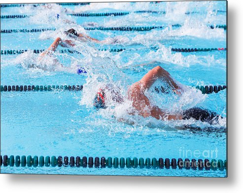 Compete Metal Print featuring the photograph Freestyle Swimmers Racing by Suzanne Tucker