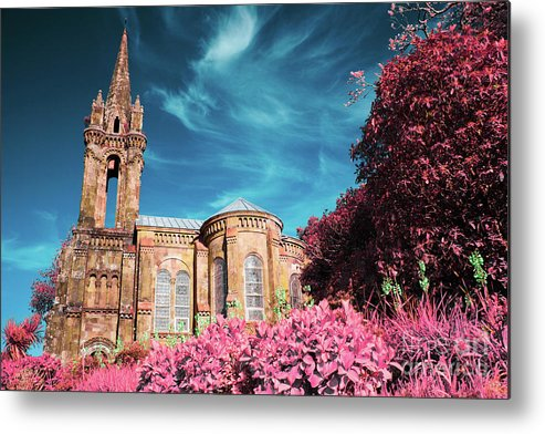 Infrared Metal Print featuring the photograph Gothic Style Chapel by Gaspar Avila