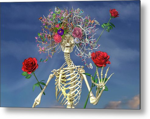 Skeleton Metal Print featuring the digital art Grateful Greetings And Good Times by Betsy Knapp