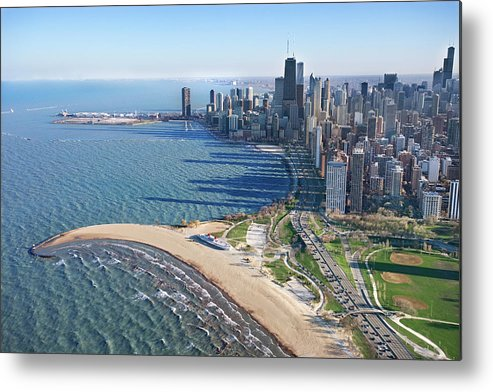 Lake Michigan Metal Print featuring the photograph Lake Michigan By Chicago Skyline by Jupiterimages