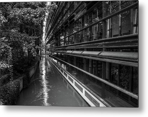 Architecture Metal Print featuring the photograph Little River, Big Building by Borja Robles