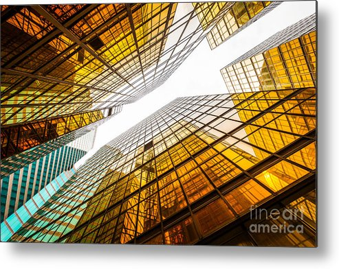 Commercial Metal Print featuring the photograph Low Angle View Of Modern Skyscraper by Zhu Difeng