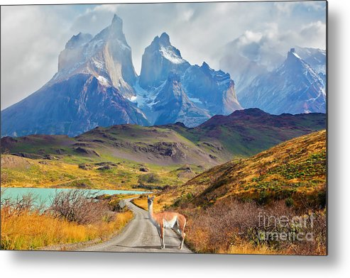 Cliffs Metal Print featuring the photograph Majestic Peaks Of Los Kuernos Over Lake by Kavram