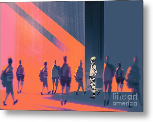 Crowd Metal Print featuring the digital art Man Walking To Different Way,unique by Tithi Luadthong