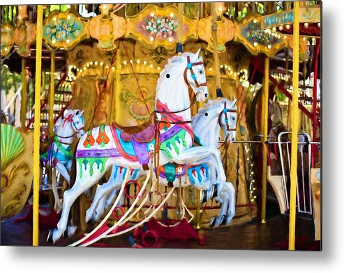 Merry-go-round Metal Print featuring the painting Merry-go-round by ArtMarketJapan