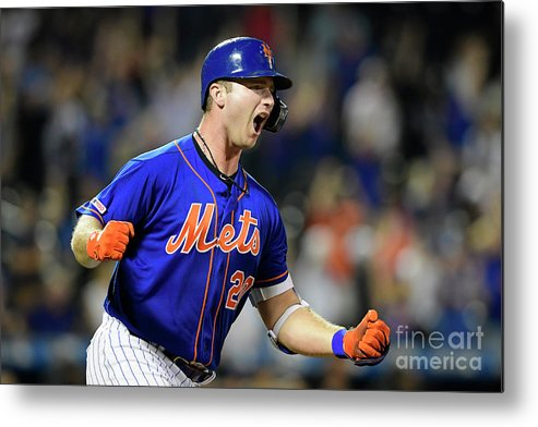 Three Quarter Length Metal Print featuring the photograph Miami Marlins V New York Mets - Game Two by Steven Ryan