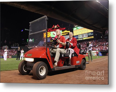 Emergence Metal Print featuring the photograph Milwaukee Brewers V St. Louis Cardinals by Christian Petersen