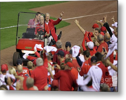 Emergence Metal Print featuring the photograph Milwaukee Brewers V St. Louis Cardinals by Jamie Squire