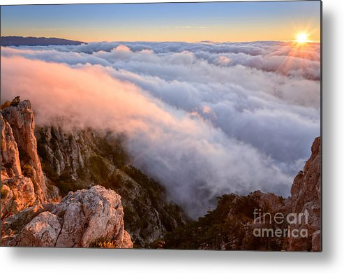 Sky Metal Print featuring the photograph Ocean Of A Cloud And Sky Of Dawn by Olga Maksimava