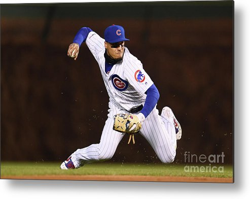 American League Baseball Metal Print featuring the photograph Pittsburgh Pirates V Chicago Cubs by Stacy Revere