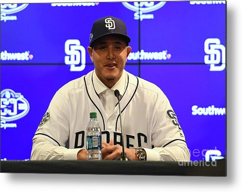 Peoria Sports Complex Metal Print featuring the photograph San Diego Padres Introduce Manny Machado by Jennifer Stewart