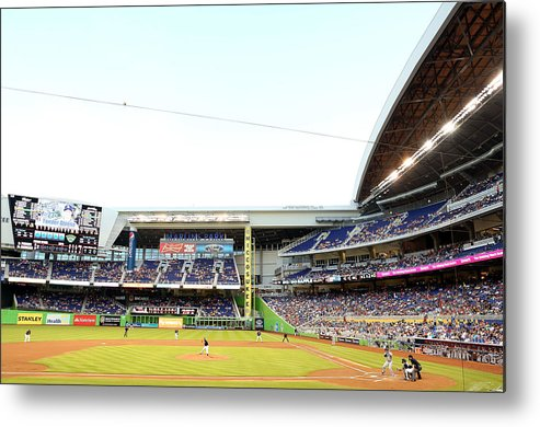 American League Baseball Metal Print featuring the photograph San Diego Padres V Miami Marlins by Marc Serota