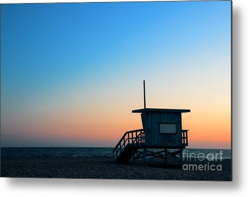Sunrise Metal Print featuring the photograph Santa Monica Beach Safeguard Tower At by Songquan Deng