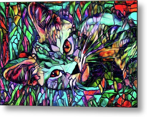 Cat Metal Print featuring the digital art Sparky The Stained Glass Kitten by Peggy Collins