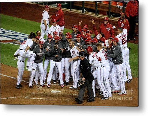 Playoffs Metal Print featuring the photograph St. Louis Cardinals V Washington by Patrick Mcdermott