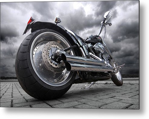 Harley Davidson Motorcycle Metal Print featuring the photograph Storming Harley by Gill Billington