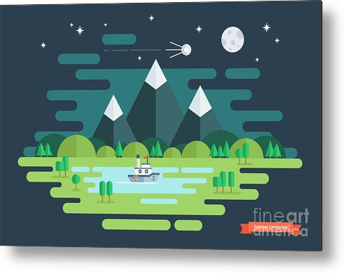 Ecosystem Metal Print featuring the digital art Summer Night Landscape. Nature by Finevector