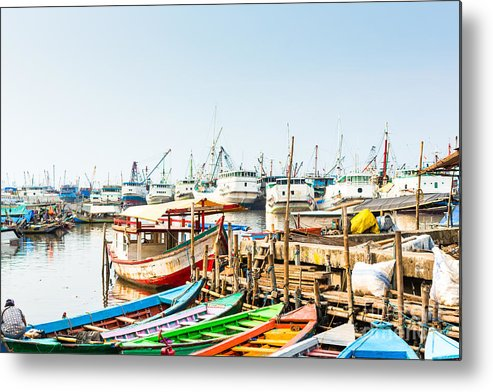 Harbour Metal Print featuring the photograph Sunda Kelapa Old Harbour With Fishing by Kzenon